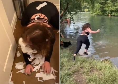 Jenna Phillips se passando por cadela: rasgando papel e pulando em lago atrás de bola