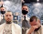 Barbeiro deixa amigo com câncer emocionado ao raspar o próprio cabelo; vídeo