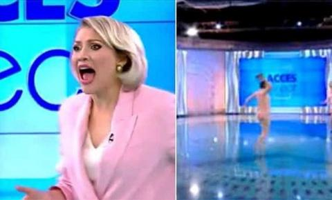 Mulher nua invade estúdio de TV e tenta ferir apresentadora; vídeo