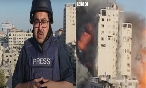 Prédio atingido por bombardeio israelense desaba durante transmissão ao vivo de TV; vídeo