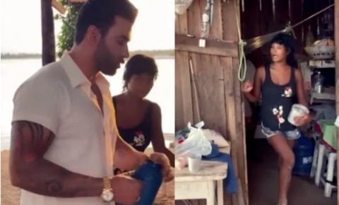 Gusttavo Lima aparece de surpresa e toma café na casa de fã ribeirinha; vídeo