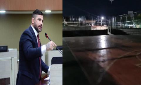 Vereador Capitão Carpê denuncia vandalismo em quadra de esporte na Compensa