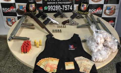 Rocam detém grupo com armas, munições e colete balístico na zona centro-oeste