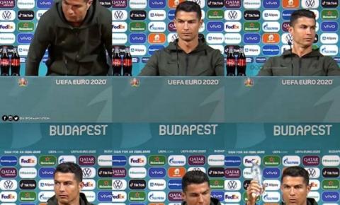 Cristiano Ronaldo dá prejuízo de 20 bi à Coca-Cola. Ao preferir água