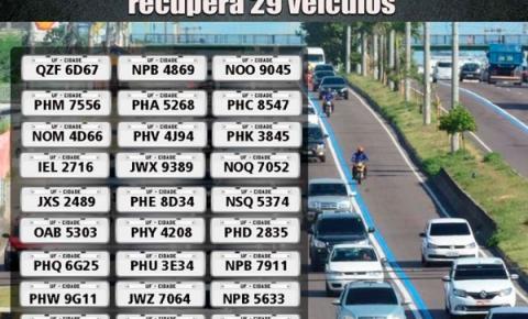 Polícia Militar recupera 29 veículos em várias regiões de Manaus