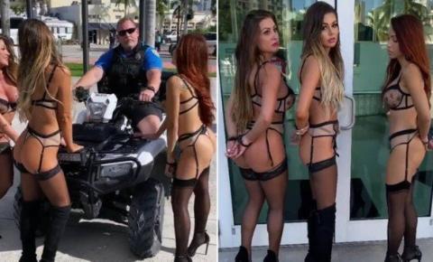 Vídeo: Policial é suspenso por 'algemar' modelos na Flórida
