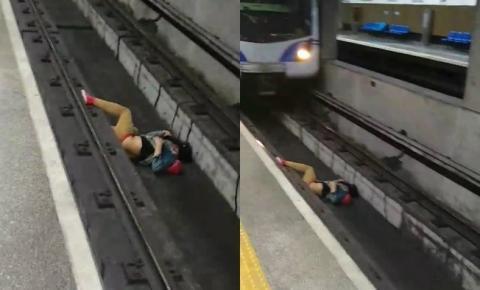 Homem cai nos trilhos do metrô de São Paulo e é salvo por pouco; veja vídeo
