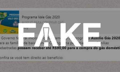 É FAKE! Mensagem que fala em cadastro para receber auxílio gás